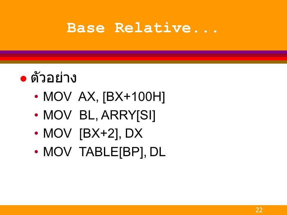 Base Relative... ตัวอย่าง MOV AX, [BX+100H] MOV BL, ARRY[SI]